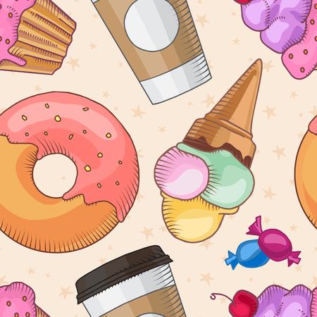 Fast food. Set of cartoon vector food icons on the seamless pattern. french fries, hamburger, sweet potato fries, hot dog, icecream Ilustração