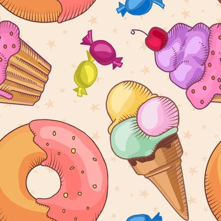 Fast food. Set of cartoon vector food icons on the seamless pattern. french fries, hamburger, sweet potato fries, hot dog, icecream Illustration