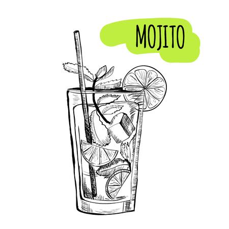Schets cocktails en alcoholische dranken vector hand getekende illustratie Set van schets cocktails en getekend alcoholische dranken vector hand illustratie Vector Illustratie
