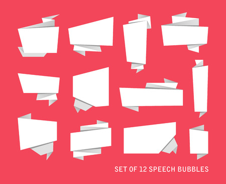 illustration for advertising: Abstract banners set, folded paper tape, or original voice bubbles, vector illustration for advertising banners, posters Illustration