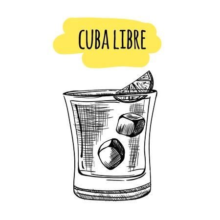 Szkic koktajle i napoje alkoholowe wektor ręcznie rysowane ilustracji Zestaw szkicu koktajle i drinki alkoholowe Ręcznie rysowane ilustracji wektorowych