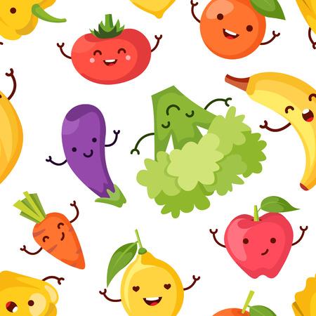Bande dessinée alimentaire Healty représentant certains légumes drôles. seamless Banque d'images - 61583577