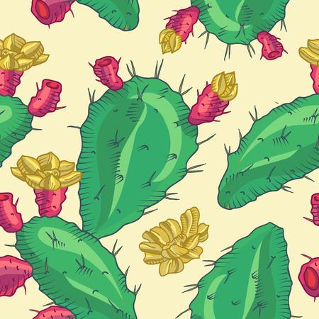 cactus flower: Cactus flower, seamless pattern. Pot Cactus logo. Cactus icon, Vector cactus pot. Cartoon Cactus Illustration. Dessert flora. Green Cactus, dwarf cactus.