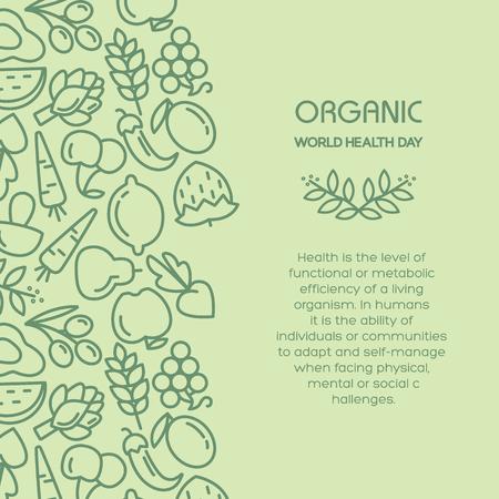 Organic world health day. Fruit and vegetables background illustration Illustration