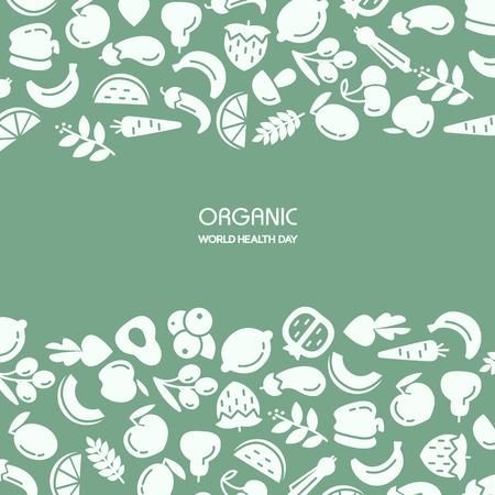 Organic world health day. Fruit and vegetables background illustration Çizim