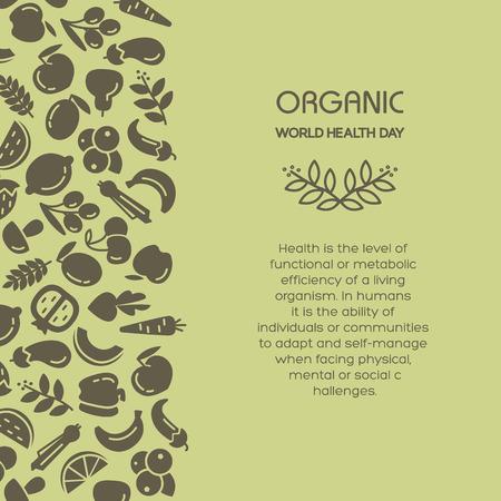 fruit background: Organic world health day. Fruit and vegetables background illustration Illustration