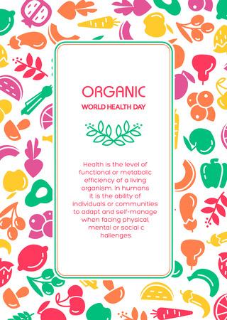 유기 세계 건강의 날. 과일과 야채 배경 그림