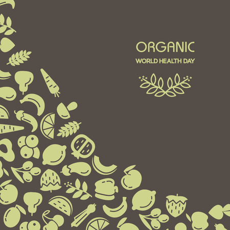 Organic world health day. Fruit and vegetables background illustration Stock Illustratie