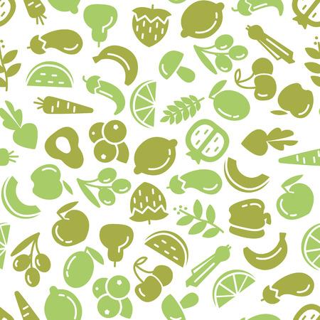 유기 세계 건강의 날. 과일 및 채소 일러스트