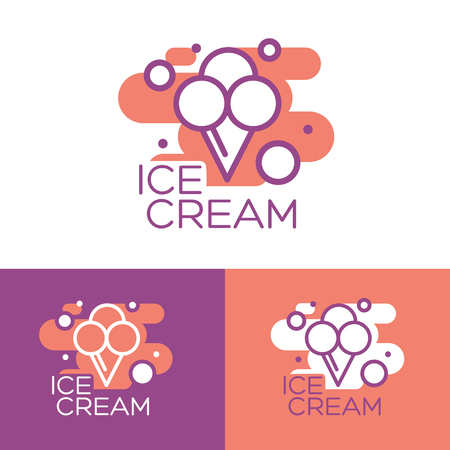 Ice cream vector. Ice cream illustration. Ice cream sundae on background. Ice cream. Image of vanilla ice cream.