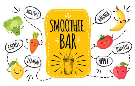 batidos de frutas: menú saludable. batido de la ilustración vector de la barra