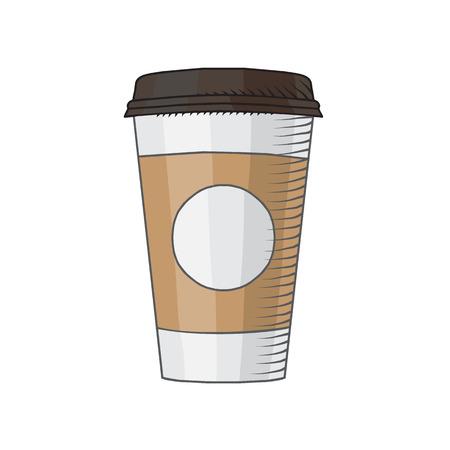 Coffee Cup tekende door geïsoleerde hand illustratie Vector Illustratie