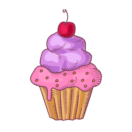 gateau: Cupcake with whipped cream and cherry isolated on white Illustration