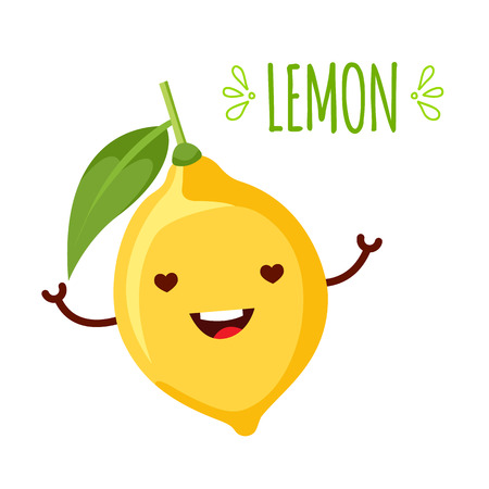 A happy cartoon lemon. He is not too sour. isolated on the white background  イラスト・ベクター素材