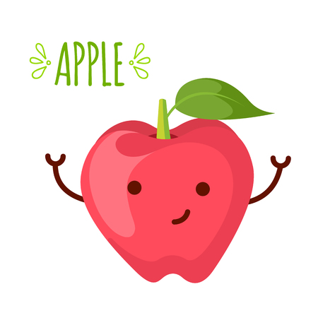 anthropomorphic: Cartoon illustration of apple character isolated on the white background