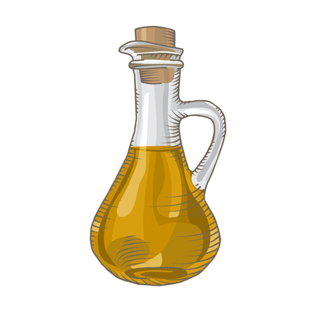 oily: Olive oil in a bottle on white. vector isolated illustration