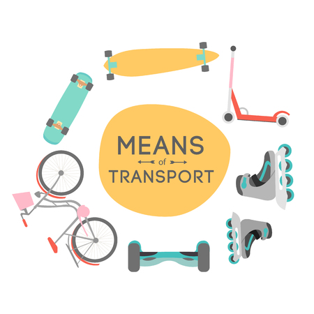 means of transport: Means of transport vector background illustration with text area