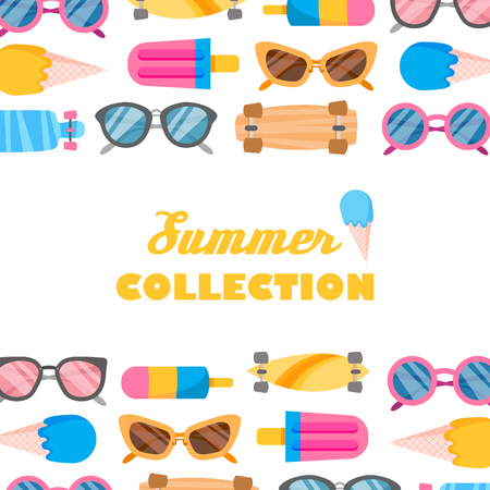 Summer collection of objects. Vector illustration of icons