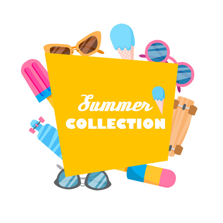 Summer collection of objects illustration of icons