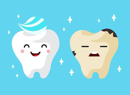 cartoon washing: Healthy and unhealthy sad tooth cartoon characters. vector illustration on the blue background