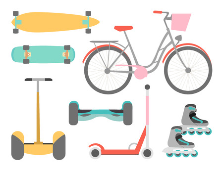 Means of transport vector icons set isolated on the white background