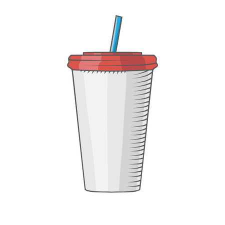 plastic cup with a straw to drink drawed by hand isolated illustration
