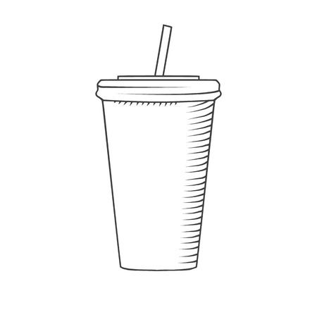 drawed: plastic cup with a straw to drink drawed by hand isolated illustration