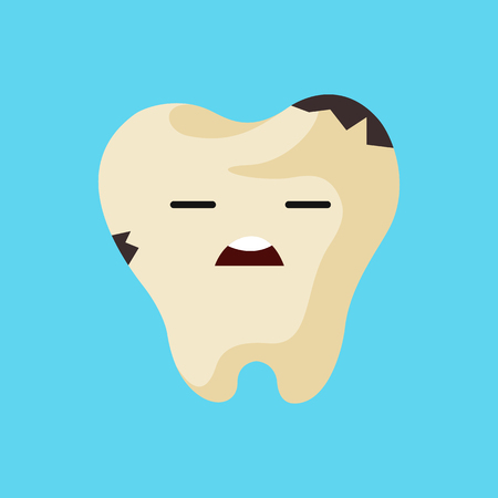 decay: Vector cartoon sick tooth. Decay and destroy tooth. Cute tooth crying.