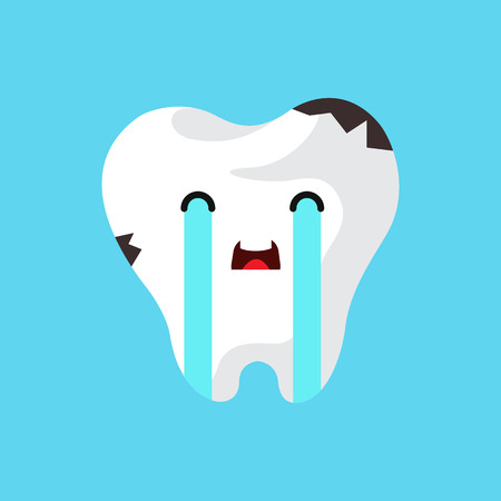 tooth decay: Vector cartoon sick tooth. Decay and destroy tooth. Cute tooth crying.