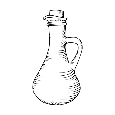 roses in vase: Glass carafe illustration. vector isolated on white