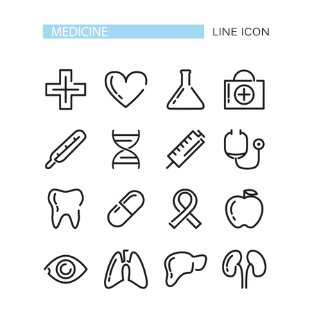 medical icons: Medical Icons Set. Vector icons isolated on the white background