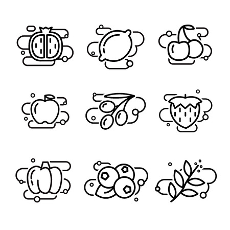 Vector Fruits and Vegetables lined Icons set