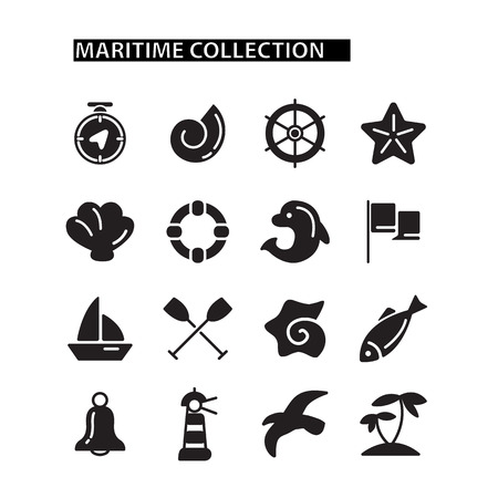sail fin: Marine icons set. isolated on the white background