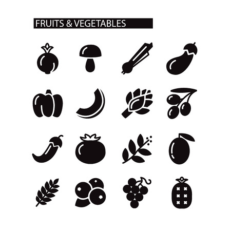Fruit and Vegetables icon set isolated on the white background