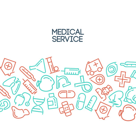 eye bandage: Medical background with lined Icons and text area