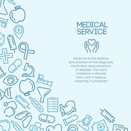 Medical background with lined Icons and text area