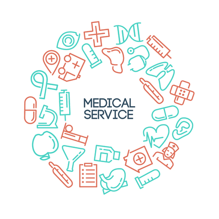 text area: Medical background with lined Icons and text area