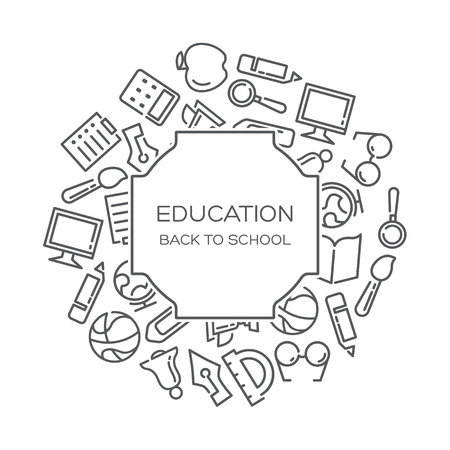 Education Vector background with lined icons Çizim