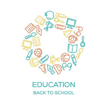 onderwijs: Onderwijs Vector achtergrond met bekleed iconen