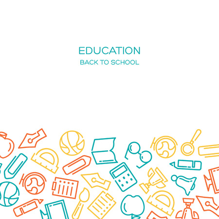 Education Vector background with lined icons Stock Vector - 62986926