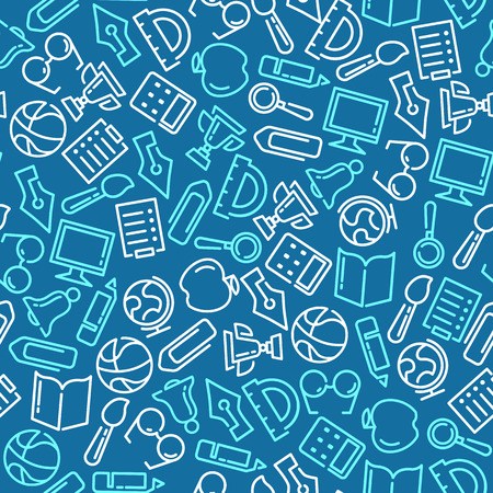 Education Vector seamless pattern with lined icons Çizim