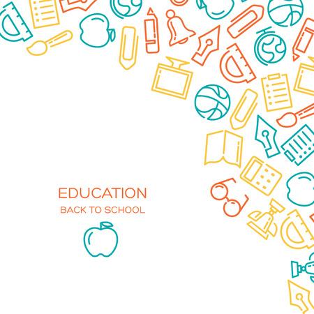 Education Vecteur de fond avec des icônes alignés