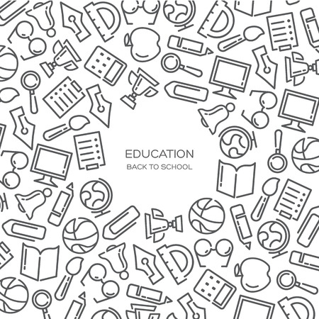 Education Vector background with lined icons Illustration