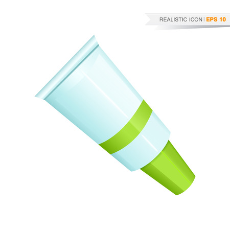 Vector green paint tube icon isolated on the white background