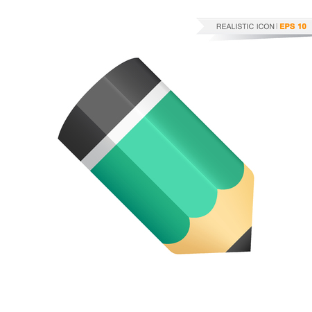 Vector realistic green pencil icon isolated on the white background Vettoriali