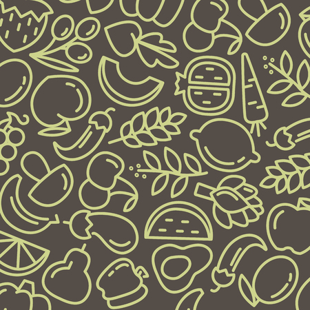 Organic world health day. Fruit and vegetables seamless pattern