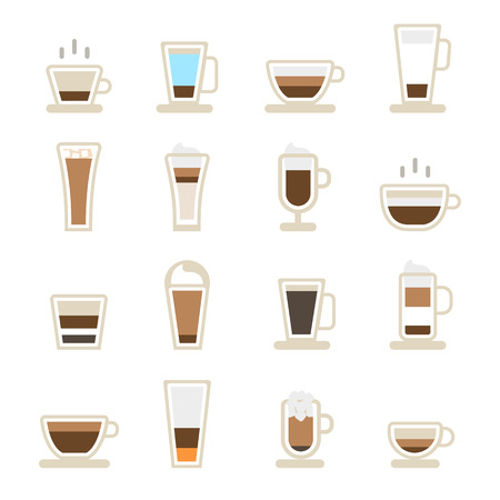 Cups of coffee icons . vector icons isolated on the white Çizim