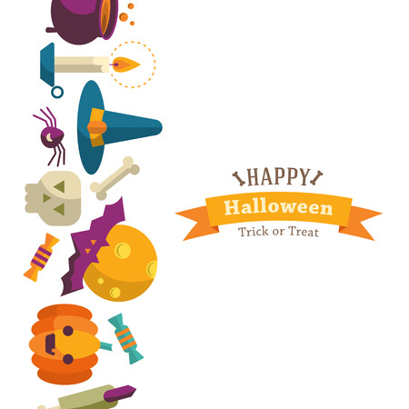 cartoon halloween: Happy Halloween background with flat icons