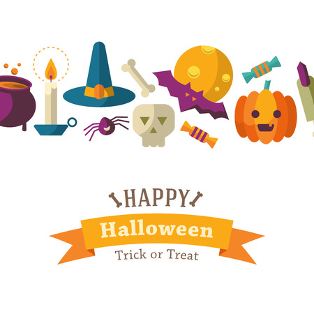 Happy Halloween backgraund with flat icons
