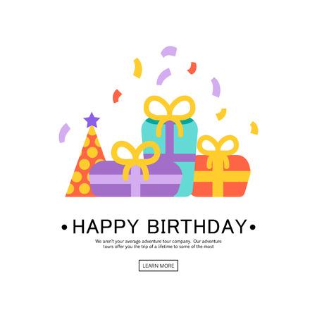Ilustración vectorial de una tarjeta de felicitación del feliz cumpleaños